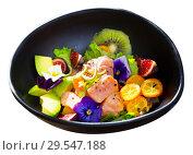 Купить «Salmon ceviche with avocado, kiwi and figs», фото № 29547188, снято 19 апреля 2019 г. (c) Яков Филимонов / Фотобанк Лори