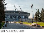 Купить «Новый спортивный стадион Газпром Арена в Санкт-Петербурге», фото № 29547380, снято 10 августа 2018 г. (c) V.Ivantsov / Фотобанк Лори