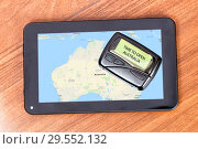 "Купить «Old pager with the inscription ""TIME TO OPEN AUSTRALIA"". Tablet with a map of Australia», фото № 29552132, снято 13 апреля 2015 г. (c) Евгений Ткачёв / Фотобанк Лори"