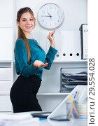 Купить «Business woman at office interior», фото № 29554028, снято 31 июля 2017 г. (c) Яков Филимонов / Фотобанк Лори