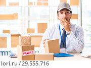 Купить «Male employee working in box delivery relocation service», фото № 29555716, снято 24 июля 2018 г. (c) Elnur / Фотобанк Лори