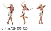 Купить «Pretty model in clothes with carpet prints isolated on white», фото № 29555920, снято 20 марта 2015 г. (c) Elnur / Фотобанк Лори