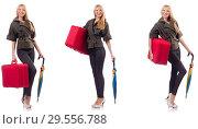 Купить «Young beautiful woman with suitcase and umbrella isolated on whi», фото № 29556788, снято 19 февраля 2019 г. (c) Elnur / Фотобанк Лори