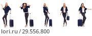 Купить «Beautiful woman with suitcase in vacation concept», фото № 29556800, снято 10 июля 2020 г. (c) Elnur / Фотобанк Лори