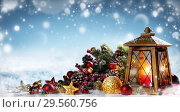 Купить «lantern with christmas decoration», фото № 29560756, снято 9 декабря 2018 г. (c) Иван Михайлов / Фотобанк Лори