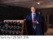Купить «Winemaker inviting to wine cellar», фото № 29561316, снято 22 января 2018 г. (c) Яков Филимонов / Фотобанк Лори