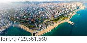Купить «Aerial view of seaside area of Barcelona», фото № 29561560, снято 22 сентября 2019 г. (c) Яков Филимонов / Фотобанк Лори