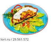 Купить «Eggplant with vegetables and baked cheese», фото № 29561572, снято 16 февраля 2019 г. (c) Яков Филимонов / Фотобанк Лори