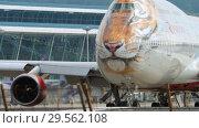 Купить «Airplane turn runway before departure», видеоролик № 29562108, снято 2 декабря 2018 г. (c) Игорь Жоров / Фотобанк Лори