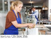 Купить «Female worker cleaning glass», фото № 29564356, снято 10 сентября 2018 г. (c) Яков Филимонов / Фотобанк Лори