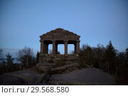 France, Temple of Vosegus on the Col du Donon in Alsace in the Northern Vosges Mountains (2014 год). Стоковое фото, агентство Caro Photoagency / Фотобанк Лори