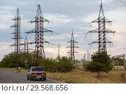 Купить «Republic of Moldova, power pylons», фото № 29568656, снято 30 августа 2016 г. (c) Caro Photoagency / Фотобанк Лори