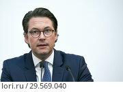 Купить «Berlin, Germany - Federal Minister of Transport Andreas Scheuer.», фото № 29569040, снято 6 ноября 2018 г. (c) Caro Photoagency / Фотобанк Лори