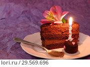 Купить «Шоколадный торт. Кусок торта со свечой и цветком лилии. Сиреневый фон.», фото № 29569696, снято 3 ноября 2018 г. (c) ирина реброва / Фотобанк Лори