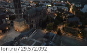 Купить «Historical aerial view of Limoges Cathedral illuminated at dusk, France», видеоролик № 29572092, снято 26 октября 2018 г. (c) Яков Филимонов / Фотобанк Лори