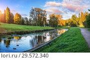Купить «Пейзаж на реке в Павловске Landscape on the river Slavyanka in Pavlovsk», фото № 29572340, снято 23 сентября 2018 г. (c) Baturina Yuliya / Фотобанк Лори
