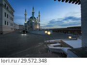 Купить «Kazan, Russia, December 6, 2018. Beautiful evening view of the Kul Sharif mosque in the Kazan Kremlin», фото № 29572348, снято 6 декабря 2018 г. (c) Яна Королёва / Фотобанк Лори