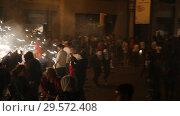 Купить «Popular street entertainment Correfoc during celebration of traditional annual festival of La Merce», видеоролик № 29572408, снято 22 сентября 2018 г. (c) Яков Филимонов / Фотобанк Лори