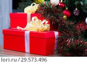 Купить «Two red Christmas gifts», фото № 29573496, снято 2 января 2018 г. (c) Яков Филимонов / Фотобанк Лори