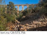 Купить «Roman aqueduct in city of Taragona in summer», фото № 29573756, снято 31 января 2018 г. (c) Татьяна Яцевич / Фотобанк Лори