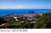 Купить «Aerial view to Islet of Vila Franca do Campo ,Sao Miguel, Azores, Portugal», фото № 29574968, снято 20 сентября 2015 г. (c) Сергей Майоров / Фотобанк Лори