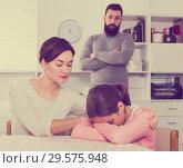 Купить «Father lecturing wife and daughter», фото № 29575948, снято 18 января 2019 г. (c) Яков Филимонов / Фотобанк Лори