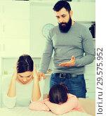 Купить «Father lecturing wife and daughter», фото № 29575952, снято 18 января 2019 г. (c) Яков Филимонов / Фотобанк Лори