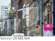 Купить «Scenes of emergency services responding to a fire that started in Victoria's nightclub on Sauchiehall in Glasgow. Featuring: Atmosphere Where: Glasgow...», фото № 29585564, снято 22 марта 2018 г. (c) age Fotostock / Фотобанк Лори