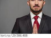 Купить «Portrait of happy young businessman in formal suit», фото № 29586408, снято 8 ноября 2018 г. (c) Pavel Biryukov / Фотобанк Лори