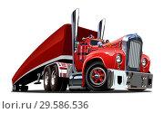 Купить «Cartoon retro semi truck isolated on white», иллюстрация № 29586536 (c) Александр Володин / Фотобанк Лори
