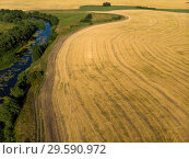 Купить «Natural landscape of central Russia with field, river in August», фото № 29590972, снято 30 июля 2018 г. (c) Володина Ольга / Фотобанк Лори