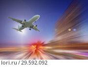Big airplane in sky on blurred background. Стоковое фото, фотограф Яков Филимонов / Фотобанк Лори