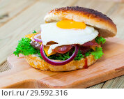Купить «Burger with fried egg, bacon, cheese, onion and lettuce», фото № 29592316, снято 17 января 2019 г. (c) Яков Филимонов / Фотобанк Лори