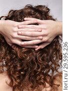 Купить «Woman from backside with curly hair», фото № 29595236, снято 4 ноября 2018 г. (c) Serg Zastavkin / Фотобанк Лори