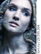 Купить «Portrait of beautiful young woman with vogue shining sparkle face makeup», фото № 29595304, снято 4 ноября 2018 г. (c) Serg Zastavkin / Фотобанк Лори