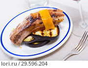 Купить «Baked pork rib with cheese and eggplant», фото № 29596204, снято 16 февраля 2019 г. (c) Яков Филимонов / Фотобанк Лори