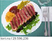 Купить «Delicious poultry dish – duck breast Magret», фото № 29596236, снято 21 июля 2019 г. (c) Яков Филимонов / Фотобанк Лори