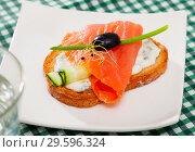 Купить «Salmon and cucumber on toasted baguette with cream sauce», фото № 29596324, снято 24 августа 2019 г. (c) Яков Филимонов / Фотобанк Лори