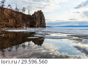 Купить «Lake Baikal in May. The ice floes are melting near the rocky coast of Olkhon Island. Spring tranquil landscape», фото № 29596560, снято 17 мая 2013 г. (c) Виктория Катьянова / Фотобанк Лори