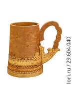 Birch bark mug for kvass and other drinks on white background isolated, Russian folk art. Стоковое фото, фотограф Наталья Волкова / Фотобанк Лори