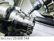 Купить «Milling metalworking process. Industrial CNC metal machining by vertical mill.», фото № 29608144, снято 16 мая 2018 г. (c) Дмитрий Калиновский / Фотобанк Лори