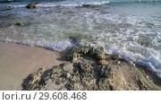 Купить «clear water of Mediterranean with sandy bottom and stone», видеоролик № 29608468, снято 8 декабря 2018 г. (c) Володина Ольга / Фотобанк Лори
