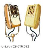 Купить «Vector retro microphones set isolated on white background», иллюстрация № 29616592 (c) Александр Володин / Фотобанк Лори