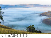 Купить «Misty morning over the valley in the Ural mountains», фото № 29618116, снято 30 августа 2018 г. (c) Акиньшин Владимир / Фотобанк Лори