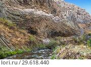 Купить «Basalt gorge of Garni in Armenia in the Kotayk region, near the village of Garni», фото № 29618440, снято 22 сентября 2018 г. (c) Наталья Волкова / Фотобанк Лори