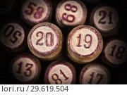 Купить «Бочонки русского лото с цифрами 20 и 19, символ Нового года 2019», фото № 29619504, снято 27 декабря 2018 г. (c) А. А. Пирагис / Фотобанк Лори