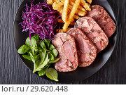 Купить «beef tongue aspic with coleslaw and french fries», фото № 29620448, снято 18 декабря 2018 г. (c) Oksana Zh / Фотобанк Лори