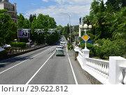 Купить «Sochi, Russia - June 2 2018. Kurortny Prospect - part of the A-147 highway», фото № 29622812, снято 2 июня 2018 г. (c) Володина Ольга / Фотобанк Лори