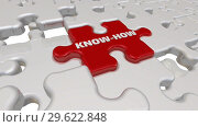 Купить «Know-how. The inscription on the missing element of the puzzle», видеоролик № 29622848, снято 15 декабря 2018 г. (c) WalDeMarus / Фотобанк Лори