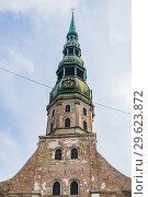 Купить «Facade. St. Peter's Church is a Lutheran church in Riga, the capital of Latvia, dedicated to Saint Peter. Riga, Latvia, Baltic states, Europe.», фото № 29623872, снято 1 сентября 2018 г. (c) age Fotostock / Фотобанк Лори
